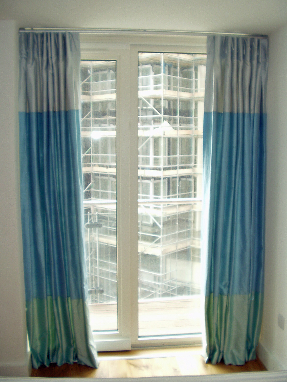 Panelled silk curtains